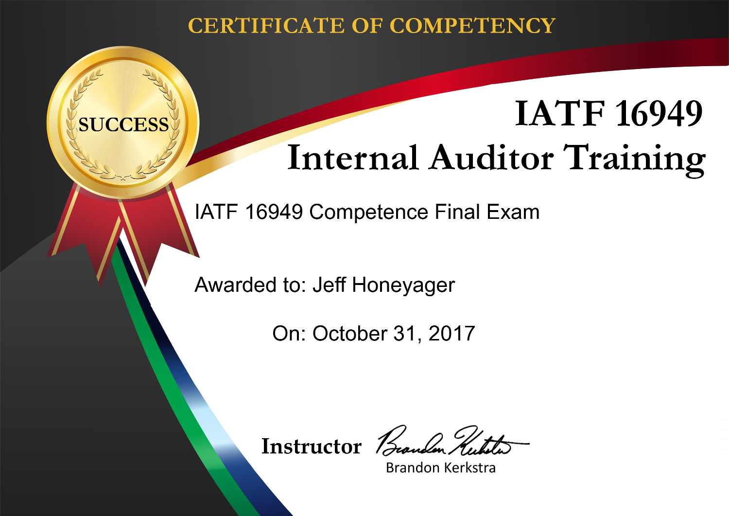 IATF Internal Auditor Competency Sample Certificate